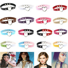 Wholesale Sexy Punk Gothic PU Leather Buckle Collar Choker Heart Chain Necklace