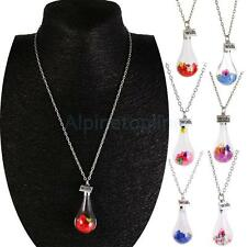 Wish Crystal Dry Flower Current Bottle Women Chain Necklace Water Drop Pendant