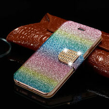 Slim Bling Crystal Leather Case Flip Wallet Cover Skin For Samsung Galaxy/iPhone