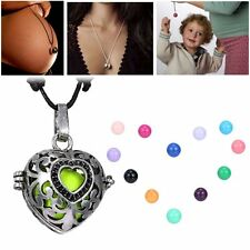 Heart Locket Pendant Pregnancy Chain Necklace Bell Ball Charms Bead Gifts