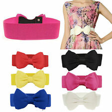 Girls Women Waist Wide Band Elastic Bowknot Stretch Buckle Corset Belt Waistband