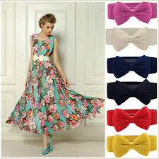 Fashion Women Elastic Wide Stretch Buckle Bowknot Bow Waistband Waist Dress Belt
