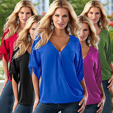 Plus Size New Womens Loose Casual Short Sleeve Sexy Shirt Tops Blouse V-Neck Tee