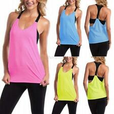 Fashion Women Stretch Gym Yoga Athletic Vest Sports Bustier Tank Workout Top Tee