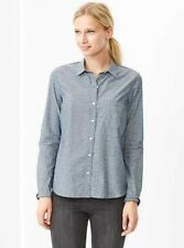 NEW WOMEN'S S SMALL GAP FITTED BOYFRIEND PRINTED CHAMBRAY SHIRT DITSY FLORAL NWT