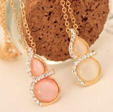 Women Fashion Jewelry Crystal Gourd Pendant Gold Chain Rhinestone Charm Necklace
