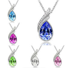Fashion Women Silver Chain Crystal Rhinestone Pendant Necklace Charm Jewellery
