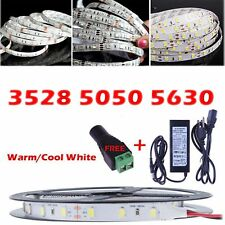 5M 300Leds 3528/5050/5630 SMD White LED Flexible Strip Light / Adapter/DC Kit