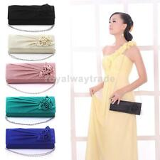 Women Handbag Shoulder Clutch Chain Bag rose Purse Wedding Bridal Evening -Party