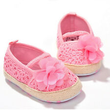 Baby Girl Flower Crocheted Crib Shoes Anti-slip Toddler Newborn Shoes 3 Sizes CA