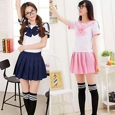 Japanese School Girl Fancy Dress Outfit Anime Sailor Uniform Cosplay Costume