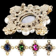 Faux Pearl Rhinestone Vintage Flower Collar Brooch Pin Wedding Bride Jewelry