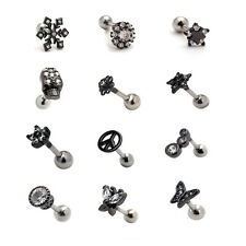 2pcs 16G Black Ear Stud Cartilage Helix Earrings Auricle Barbell Lobe Piercing