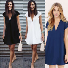 New Vogue Womens V Neck Loose Chiffon Shirt Dress Short Sleeve Casual Blouse Top