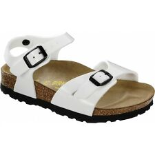 Birkenstock RIO Kids Dual Buckle Open Toe Summer Beach Sandals White Patent