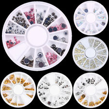New 3D Acrylic DIY Nail Art Tips Beads Glitters Rhinestones Decor Manicure Wheel