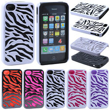 Zebra Hybrid Silicone Combo Case Cover For Apple iPhone 4 4S 4G Screen Protector