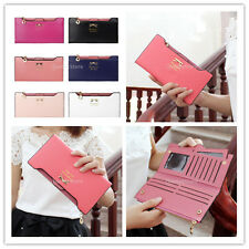 Fashion Womens Bowknot Long Zip Clutch PU Leather Wallet Purse Coin Card Bag