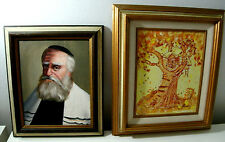 Rabbi Oil Canvas Paintings Jewish Judaica Signed Frame Boy in Tree House Yellow