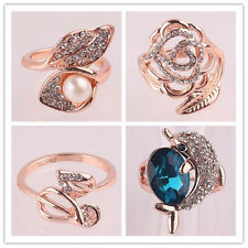 Fashion 18k Gold Plated Ring enamel flower women's Crystal Ring jewelry