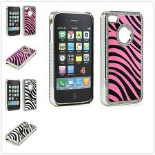 Luxury Crystal Bling Stone Zebra Diamond Chrome Case Cover for Apple iPhone 4 4S