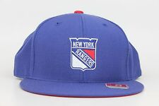 New York NY Rangers Team Logo NHL Blue Red White Mitchell & Ness Fitted Hat Cap