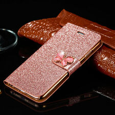 Luxury Leather Magnetic Flip Bling Diamond Case Cover Wallet For Samsung iPhone