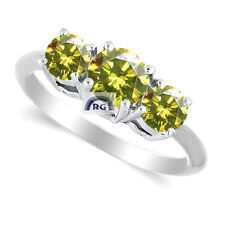0.52 CT ROUND CUT NATURAL CANARY YELLOW 3 DIAMOND Ring 18K / 14K GOLD ENGAGEMENT