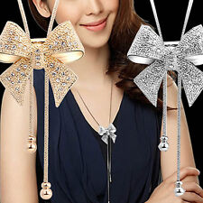 Hot Sale Luxury Crystal Bowknot Butterfly Pendant Necklace Rhinestone Long Chain