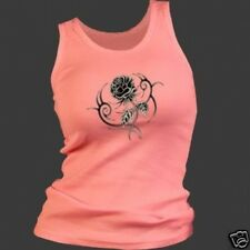 Tribal Rose Ladies Junior Cut Pink Tank Top - Biker Shirt 3 sizes fnt