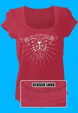 Pink Glamour Stud Design U Neck Ladies Tee Shirt 2 Sizes Live Love Ride fnt