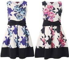 WOMENS LADIES NEW FLORAL BOW DETAIL SKATER DRESS SIZE 8/16
