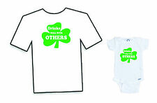 """St Patricks Day """"Drinks well with others"""" Onesie & Adult Matching Tee Shirt"""