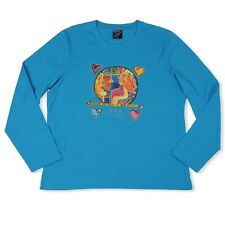 Laurel Burch Turq Blue Follow The Voice In Your Heart Long Sleeve Cotton Tee New