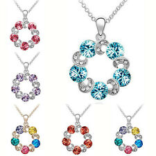 2016 Hot Sale Charm Pendant Chain Crystal Round Circle Necklace Fashion Jewelry