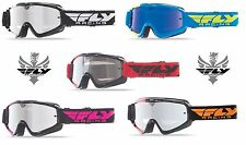 New 2016 Fly Racing Zone Adult MX ATV Goggles Chrome Smoke Lens / Blue Chrome