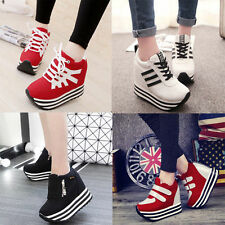 New Womens/Students Lace Up High Platform Wedge Sneakers heels Casual shoes 5091