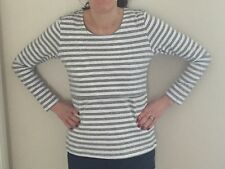 Nursing Breastfeeding Stripe Top Grey & White BNWT
