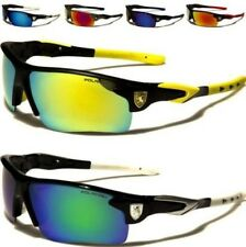 NEW POLARIZED SUNGLASSES BLACK MENS LADIES BOYS SPORTS DESIGNER WRAP MIRRORED