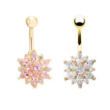 Belly Button Ring Crystal Rhinestone Flower Jewelry Navel Bar Body Piercing