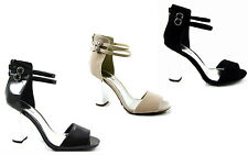 NEW LADIES WOMEN CHUNKY CHROME BLOCK HEEL ANKLE STRAP MEIDIUM HEEL SHOE SIZE3-8