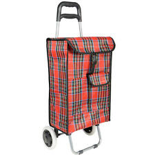 Traditional Tartan Wheeled Folding Grocery Shopping Trolley Bag 4 Colour option