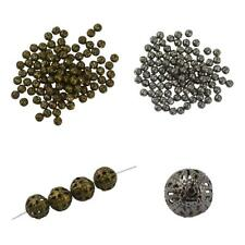 100/50pcs Hollow Filigree Round Metal Charms Beads 6/8/10mm Jewelry Findings