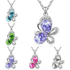New Fashion Pendant Womens Silver Chain Crystal Butterfly Necklace Jewelry Gift