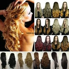 UK Charming Ombre Hair 3/4 Full Wig Clip In Hair Piece Half Wig Womens Natural