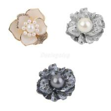 Gold/Silver Plated Crystal Silk Scarf Clip Buckle Holder Flower Brooch Jewelry