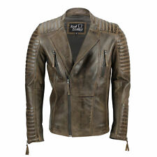 Mens Real Leather Biker Jacket Retro Brown Vintage Slim Fit Casual Zip Coat