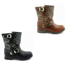 NEW LADIES WOMEN BLACK / TAN COMBAT STUDS OVER THE ANKLE BOOT SIZE 3 4 5 6 7 8