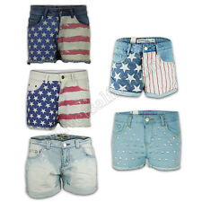 Ladies Shorts Women Hot Pants USA American Flag Denim Mini Casual Fashion Summer