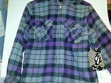 Boys NSS Brand Gray Plaid Sherpa Hooded Flannel Jacket with Lining Size Medium 8